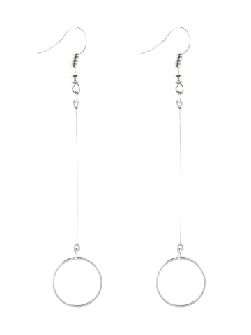 Unique Alloy Circle Long Drop Earrings