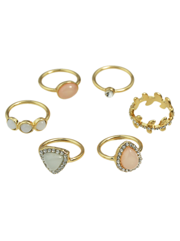 Rhinestone Faux Opal Water Drop Rings - Golden - One-size