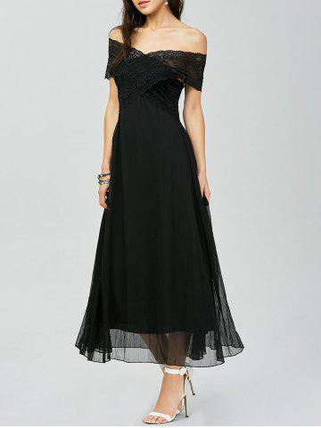 Unique Off Shoulder Lace Panel Maxi Prom Dress BLACK L