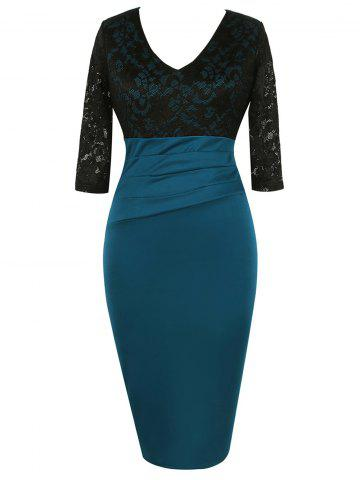 Best Lace Panel High Waisted Bodycon Dress BLACK L