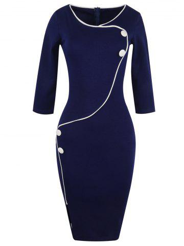 Button Design Fitted Pencil Work Dress - Purplish Blue - S