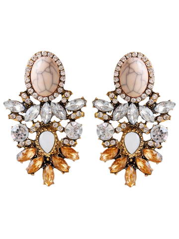 Trendy Rhinestone Alloy Faux Crystal Oval Earrings BROWN