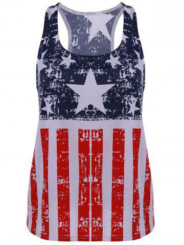 Latest Scoop Neck American Flag Print Patriotic Tank Top BLUE AND RED XL