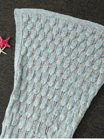 Fancy Mixcolor Hollow Out Knitted Mermaid Blanket - LIGHT BLUE  Mobile
