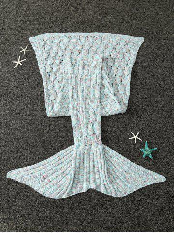 Outfits Mixcolor Hollow Out Knitted Mermaid Blanket - LIGHT BLUE  Mobile