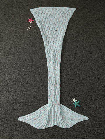 Discount Mixcolor Hollow Out Knitted Mermaid Blanket - LIGHT BLUE  Mobile