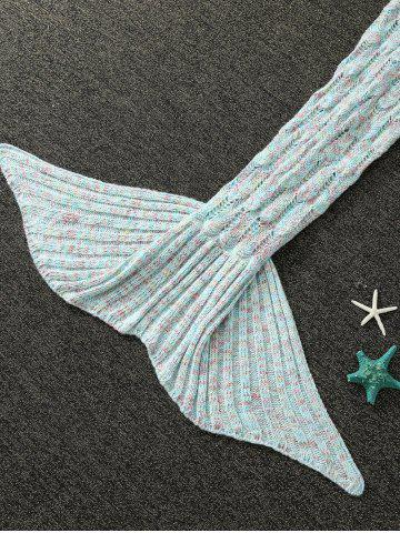 Sale Mixcolor Hollow Out Knitted Mermaid Blanket - LIGHT BLUE  Mobile