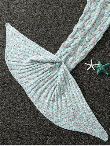 Chic Mixcolor Hollow Out Knitted Mermaid Blanket - LIGHT BLUE  Mobile
