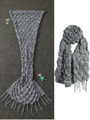 Fancy Tassels Embellished Multipurpose Knitted Mermaid Blanket - GRAY  Mobile