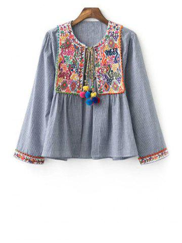 Fancy Stylish Round Neck Long Sleeve Ethnic Embroidery Women's Coat