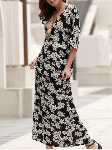 Plunging Neck Lace-Up Printed Maxi Boho Dress - Black - S