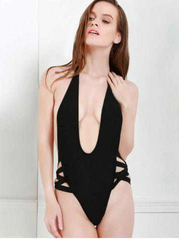 Chic Sexy Style Halter Solid Color Openwork One-Piece Swimwear For Women - M BLACK Mobile