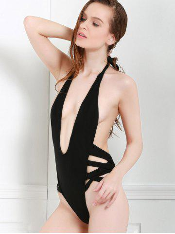 Cheap Sexy Style Halter Solid Color Openwork One-Piece Swimwear For Women - M BLACK Mobile
