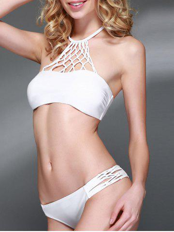 Outfits Halter Neck Openwork Bikini Set WHITE L