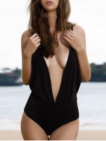 Online Plunging Neck Backless One-Piece Swimwear