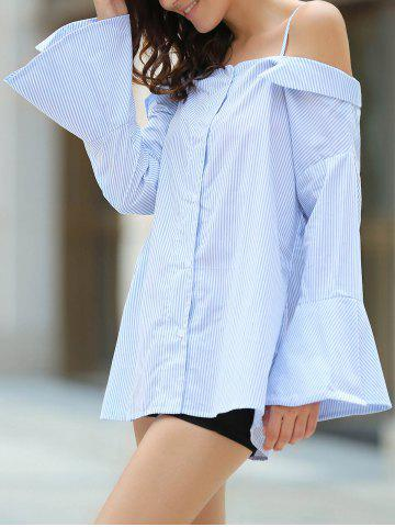 Shops Preppy Spaghetti Straps Bell Sleeve Striped Shirt For Women