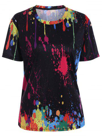 Splatter Paint Printed Tee - Black - S