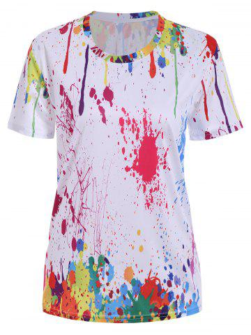 Outfits Splatter Paint Printed Tee WHITE XL