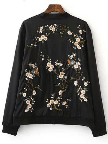 Unique Chic Zip Up Embroidered Women's Baseball Jacket - L BLACK Mobile