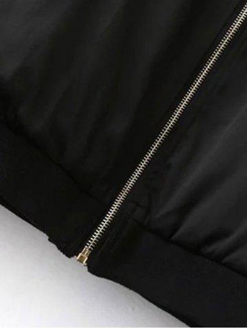 Outfits Chic Zip Up Embroidered Women's Baseball Jacket - L BLACK Mobile