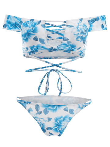 Outfits Off The Shoulder Floral Cut Out Bikini Set - M BLUE Mobile