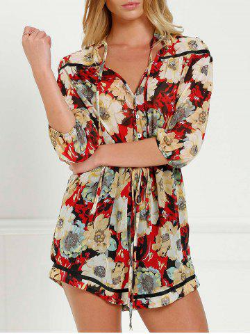 Fashion V Neck Tie Front Floral Romper with Sleeves COLORMIX M