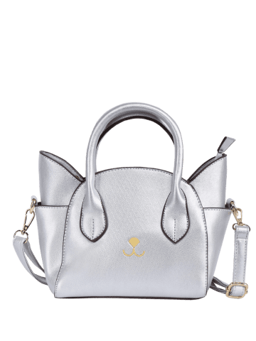 Online Charming Cat Shape and Solid Color Design Tote Bag For Women - SILVER  Mobile