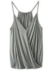 Plunging Neck Crossed Solid Color Tank Top For Women