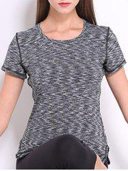 Trendy Round Neck Short Sleeves Candy Color Sport Tee For Women -