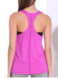 Sporty U Neck Racerback Solid Color Top For Women - ROSE