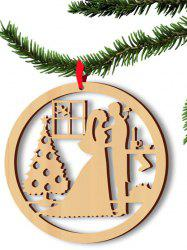 5PCS Wooden Hollow Out Lovers Christmas Hangers Party Decoration - WOOD