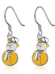 Christmas Snowman Enamel Drop Earrings - YELLOW