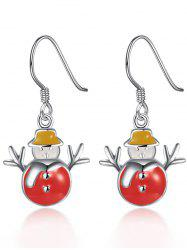 Christmas Snowman Enamel Dangle Earrings