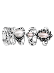 Artificial Opal Oval Ring Set - SILVER