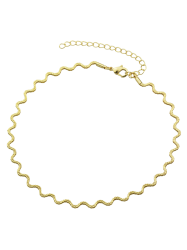 Wavy Alloy Choker Necklace - GOLDEN