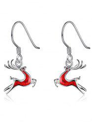 Enamel Christmas Elk Silver Plated Earrings
