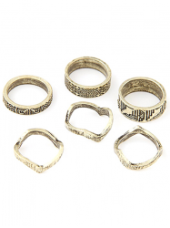Chic Tribal Style Carve Golden Rings