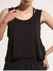 Sporty U Neck Backless Running Tank Top - BLACK