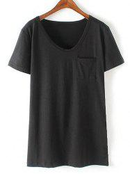 Casual Round Neck Short Sleeve Patchwork Pocket Women's T-Shirt -