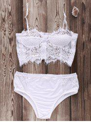 Cami Lace Zip Up Sheer Bikini Set -
