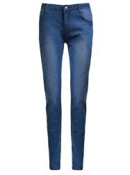 High-Waisted Zipper Embellished Slimming Pencil Jeans For Women - BLUE