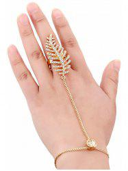 Rhinestone Leaf Mid Finger Ring With Wrist Chain - GOLDEN