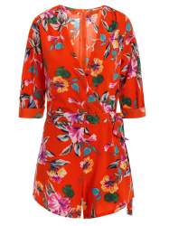Tie Front Floral Romper with Sleeves - RED L