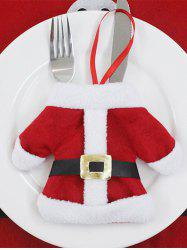 Christmas Table Decor Santa Clothes Tableware Holder Bag - RED