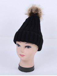 Winter Stripy Flanging Pom Hat - BLACK