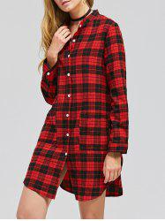 Casual Long Sleeve Checked Shirt Dress