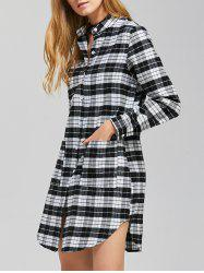 Button Up Plaid Long Sleeve Mini Juniors Shirt Dress