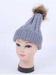 Winter Stripy Cable Knit Pom Hat -