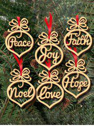 6PCS Wooden Hollow Out Hangers Christmas Decoration Supplies