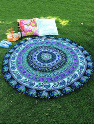 Indian Elephant Paisley Chiffon Round Beach Throw - GREEN